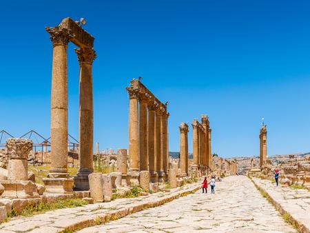 Column of the cardo maximus, Ancient Roman city of Gerasa, modern Jerash, Jordan