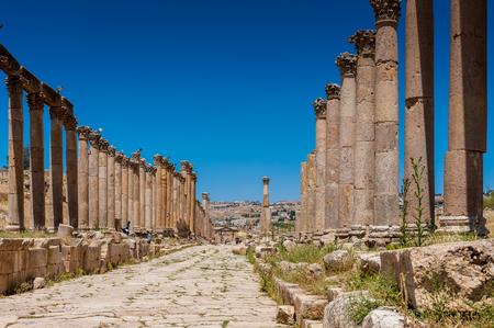 Columns of the cardo maximus, Ancient Roman city of Gerasa of Antiquity , modern Jerash, Jordan Editorial