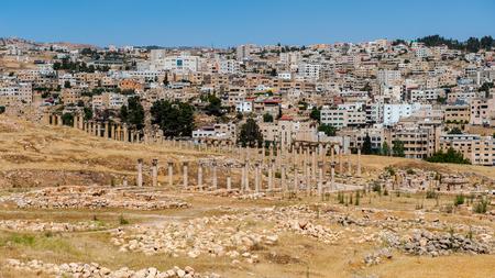Colonnade on the Roman Oval Forum, Ancient Roman city of Gerasa of Antiquity , modern Jerash, Jordan
