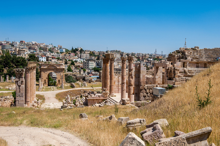 Ancient Roman city of Gerasa of Antiquity , modern Jerash, Jordan Stock Photo