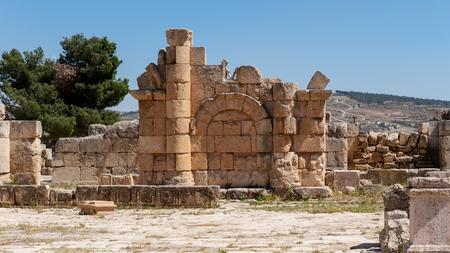 Zeus Temple, Ancient Roman city of Gerasa of Antiquity , modern Jerash, Jordan Stock Photo