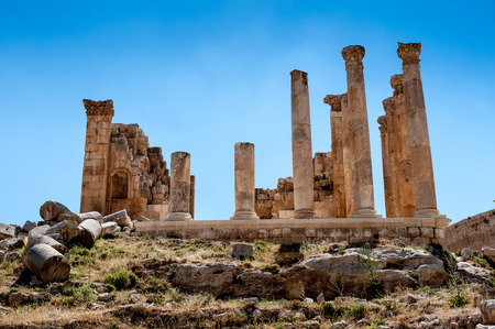 Zeus Temple, Ancient Roman city of Gerasa of Antiquity , modern Jerash, Jordan Standard-Bild