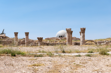 Ruins of the Amman Citadel complex (Jabal al-Qala), a national historic site at the center of downtown Amman, Jordan.