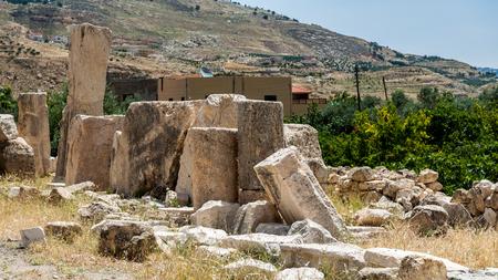 Stones of the Ruins of the Qasr al Abd, a large ruin in Iraq Al Amir, Jordan.