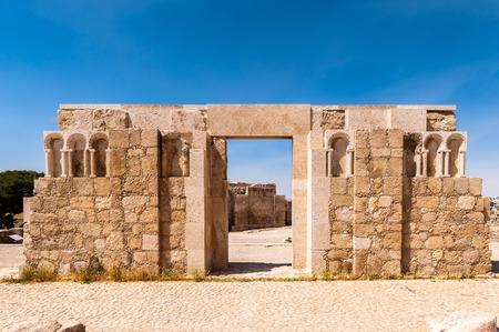 Ruins of the Amman Citadel complex (Jabal al-Qala), a national historic site at the center of downtown Amman, Jordan.