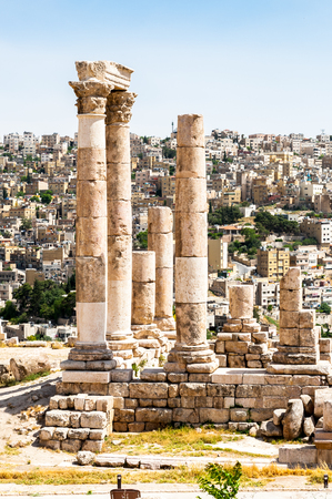 Temple of Hercules of the Amman Citadel complex (Jabal al-Qal'a), a national historic site at the center of downtown Amman, Jordan. Stock Photo