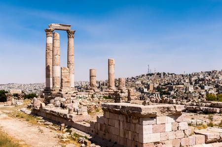 Temple of Hercules of the Amman Citadel complex (Jabal al-Qala), a national historic site at the center of downtown Amman, Jordan.