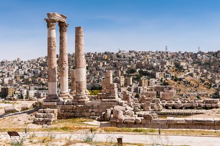 Temple of Hercules of the Amman Citadel complex (Jabal al-Qala), a national historic site at the center of downtown Amman, Jordan.