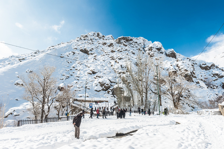 Alvand Mountain in winter in Iran.