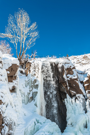 Ganj Nameh Waterfall, Alvand Mountain in Iran.