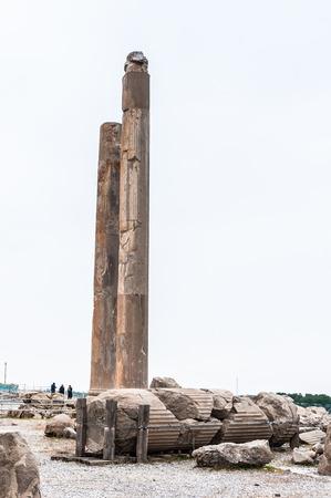 Colums of the Apadana of Darius in the ancient city of Persepolis, Iran. UNESCO World heritage site