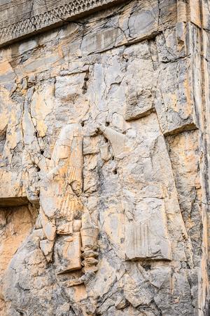 Ancient stone relief in  Persepolis, the ceremonial capital of the Achaemenid Empire. UNESCO World Heritage Archivio Fotografico