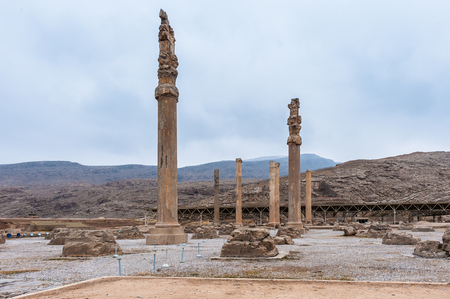Colums of the Apadana of Darius in the ancient city of Persepolis, Iran.