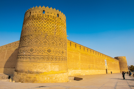 Tower of the Arg of Karim Khan, a citadel, Shiraz, Iran. It was built as part of a complex during the Zand dynasty and is named after Karim Khan. Irans Cultural Heritage Organization. Stock Photo