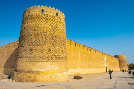 Tower of the Arg of Karim Khan, a citadel, Shiraz, Iran. It was built as part of a complex during the Zand dynasty and is named after Karim Khan. Iran's Cultural Heritage Organization.
