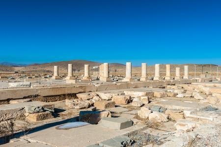 The Audience Hall of the Pasargadae Palace. Ancient Persian city of Pasargad, Iran. Stock Photo
