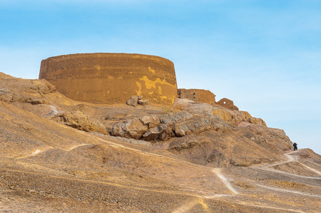 Beautiful lanscape of the Zoroastrian Towers of Silence in Yazd, iran Stock Photo