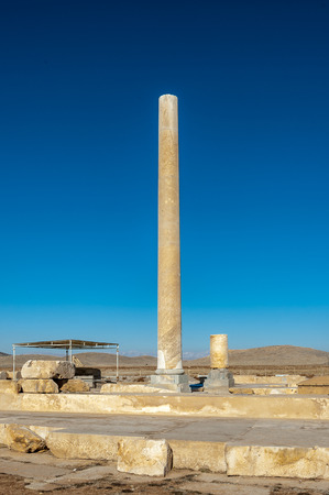 Column and ruins of the Audience Hall in the Ancient Persian city of Pasargad, Iran. Stock Photo