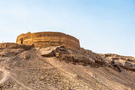 Tower of Silence, Iranian Zoroastrian tradition, the towers were built atop hills or low mountains Stock Photo