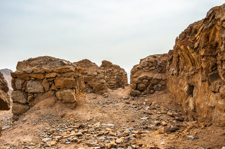 Ruins of the cage of vultures of the Zoroastrian Towers of Silence in Yazd, Iran Stock Photo