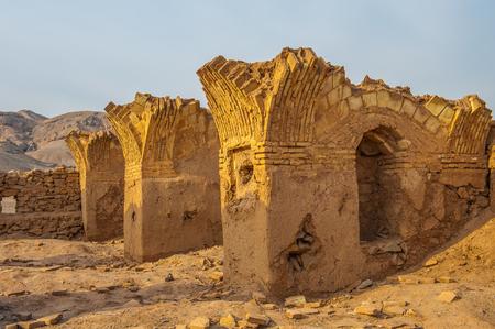 Desert of Yazd, Iran, Zoroastrian architecture  ruins on the sand