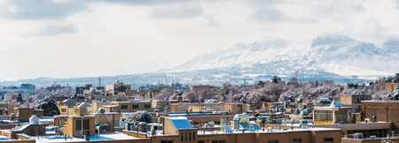 Panorama of Isfahan, Iran and the mountains. View from the Ali Qapu palace 스톡 콘텐츠
