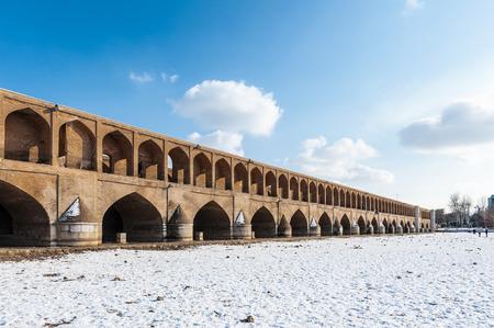 Winter in Isfahan, 33 pol Allah Verdi Khan bridge in Isfahan, Iran