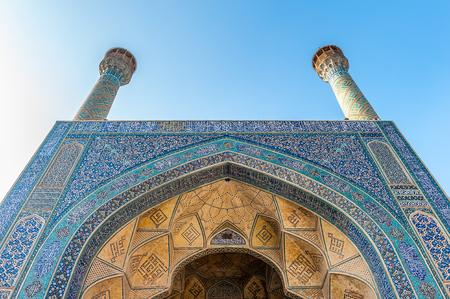 Minarets Jameh Mosque of Isfahan in winter, Iran.