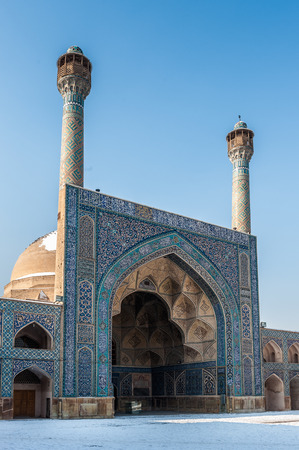 Part of the  Jameh Mosque of Isfahan in winter, Iran. UNESCO World Heritage site