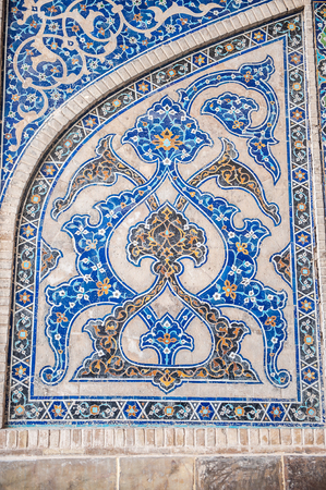 Mosaic ornament of the Jameh Mosque of Isfahan, Iran. Stock Photo