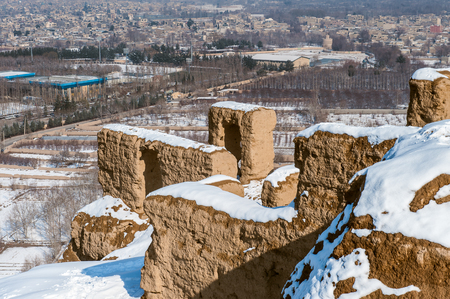 Fire temple of Isfahan mountain in winter with snow Reklamní fotografie