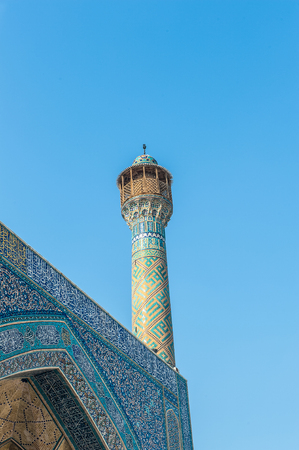 Minaret of the Jameh Mosque of Isfahan, Iran. UNESCO World Heritage site