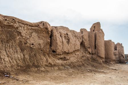 Iranian typical clay fortress. Kashan, Iran