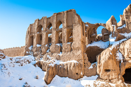 Close view on the almost destroyed house in the Iranian desert
