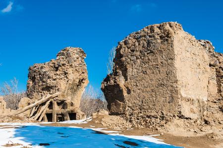 Destroyed village in Winter Stock Photo
