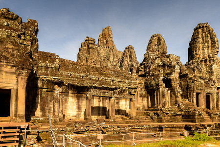 Bayon, Khmer temple at Angkor in Cambodia. Official state temple of the Mahayana Buddhist King Jayavarman VII