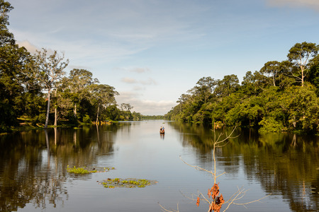 River near  the Gate into Angkor Thom Stock Photo