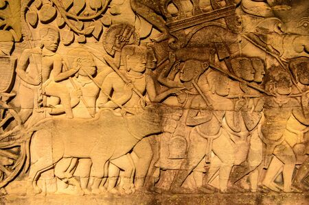 Drawing of the part of the army on the Bayon, Khmer temple at Angkor in Cambodia. Official state temple of the Mahayana Buddhist King Jayavarman VII