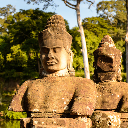 Figure near the Angkor Thom, Cambodia. Khmer temples complex