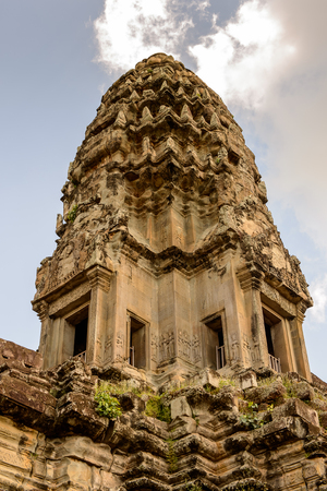 Close view of the Angkor Wat, Cambodia, the largest religious monument in the world