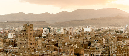 Architecture of the Old Town of Sana'a, Yemen.
