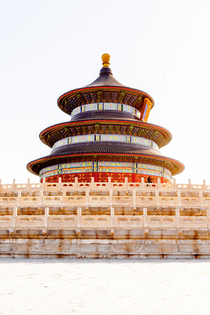 Tiantan Pagoda at the Hall of Prayer for Good Harvests of the  Temple of Heaven, an Imperial Sacrificial Altar in Beijing. UNESCO World Heritage
