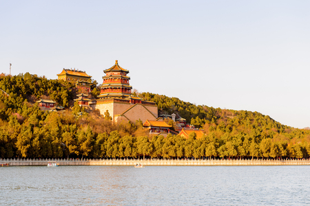 Longevity Hill on the Kunming Lake, Summer Palace complex, an Imperial Garden in Beijing. Stock Photo