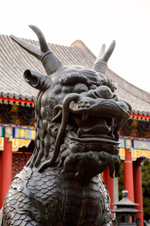 Bronze qilin statue at the Hall of Benevolence and Longevity at the Summer Palace complex, an Imperial Garden in Beijing. UNESCO World Heritage.