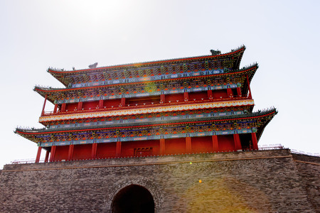 Zhengyangmen Gatehouse at the Tiananmen Square (Gate of Heavenly Peace),  a large city square in the centre of Beijing, China