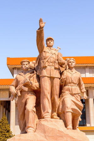 Monument in front of Mao's Mausoleum at the Tiananmen Square (Gate of Heavenly Peace),  a large city square in the centre of Beijing, China Editorial