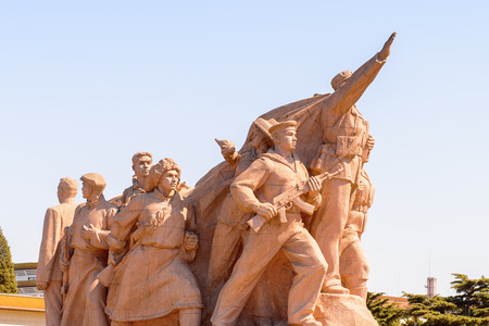 Monument in front of Maos Mausoleum at the Tiananmen Square (Gate of Heavenly Peace),  a large city square in the centre of Beijing, China
