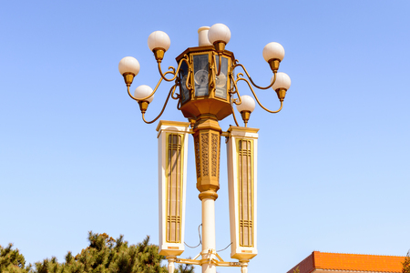 Lamp post at the Tiananmen Square (Gate of Heavenly Peace),  a large city square in the centre of Beijing, China