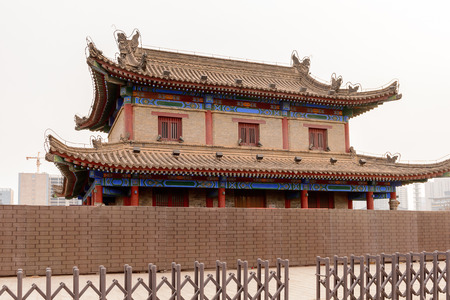 Pagoda on the Xian City Wall. Fortifications of Xi'an and Xi'an City Wall. 版權商用圖片 - 92223662