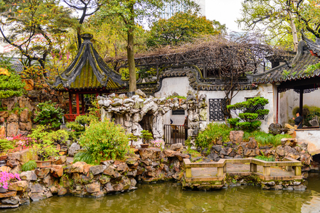 Yu or Yuyuan Garden (Garden of Happiness), an extensive Chinese garden located Old City of Shanghai, China